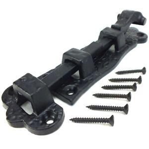 BLACK ANTIQUE DOOR BOLT & SCREWS 125mm Ornate Iron Gate Shed Slide Lock Latch