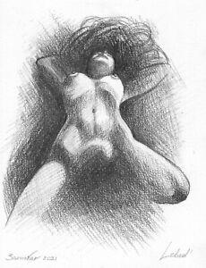 original drawing 15 x 19,5 cm 278LM art samovar Graphite sketch female nude