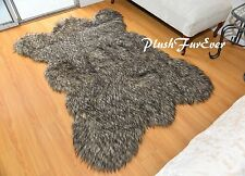 Black Tip Coyote Bearskin Area Rug Accents Faux Fur  Throw Rugs Accent