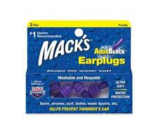 Mack's Aqua Block Earplugs Extreme Comfort Water Protection Purple