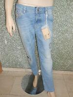 2922 07 TIGERHILL Destroyed Jeans W 26 L 32 blau Denim Aimi Roll Up NEU