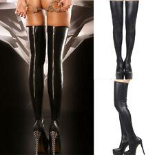 Damen Strümpfe Halterlose Wetlook Strümpfe Overknee Socken Leder Dessous SexyNeu