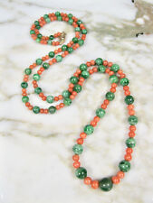 ANTIQUE VICTORIAN CHINESE SALMON CORAL GREEN 'A' JADE NECKLACE 10K GOLD CLASP