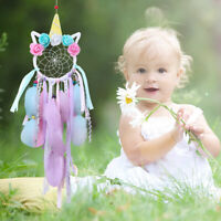 Handmade Unicorn Dream Catcher Kids Gifts Room Home Nursery Wall Hanging Decor