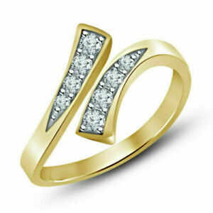 0.50 Tcw Round Cut Diamond Adjustable Bypass Toe Ring 10K Yellow Gold Finish