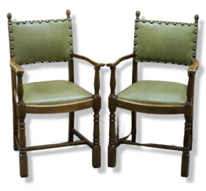STUNNING FAUX GREEN LEATHER GOTHIC STYLE DINING CHAIRS