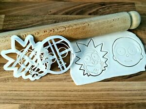 Rick and Morty Cookie Cutter Cake Fondant 3D Printed
