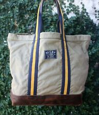Ralph Lauren Vintage Rugby Large Tote Bag Weather Canvas & Leather RARE NWT