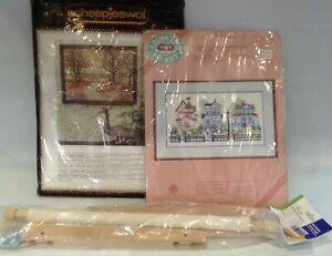 Vintage Needle Craft Tapestry Kit x 2 Nancy Miller & Penelope Stramien & Frame