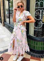 ZARA BNWT LIGHT PINK RUFFLED FLORAL PRINT DRESS Size M