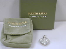 Judith Ripka Sterling Pave Diamonique Textured Heart Enhancer NIB