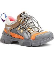 Gucci Flashtrek Journey Grey Orange Low Top Lace Hiker Boot Trainer Sneaker 36.5