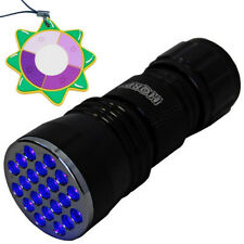 HQRP 21 LED UV 385 nM Ultra Violet Blacklight Flashlight TORCH LIGHT + UV Meter