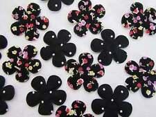 40 Black Floral & Dot Cotton Print Flower Applique/trim/quilting/sewing/bow H135