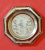 Dollhouse miniature vintage sterling silver Chinoiserie Period plate,  1:12