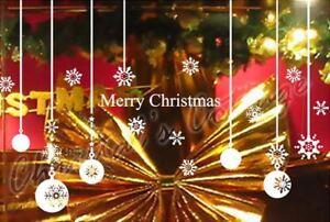 Merry Christmas Ball Snowflake Shop Window Decoration Sticker Wall Art UK Vinyl