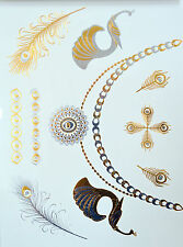 Metal tattoo stickers Tatouages collier or argent motifs /Gold silver