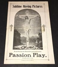 PASSION PLAY (PRE-1910) SCARCE EARLY 4 PAGE RELIGOUS FILM HERALD / HANDBILL!
