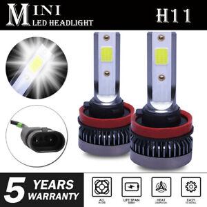 2X Mini H8 H9 H11 LED Headlight Bulb Conversion Kit 6000K High Low Beam Fog Bulb