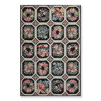 6' x 9' Hand Woven French Aubusson Needlepoint Wool Area Rug Traditional Black