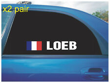 SEBASTIEN LOEB REAR QUARTER WINDOW STICKERS FRENCH FLAG RALLY CROSS RX WHITE X2