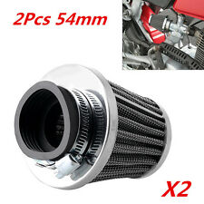2x 54mm Tapered Chrome Pod Air Filters Clean for Motorcycle Cafe Racer Universal