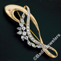 Vintage 18k Two Tone Gold 3.34ctw Marquise Pear & Round Diamond Open Pin Brooch