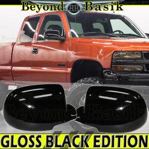 1999-2006 CHEVY SILVERADO GMC SIERRA GLOSS BLACK Mirror COVERS Overlays
