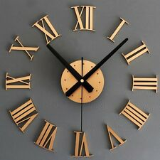 DIY 3D Luxury Wall Clock Large Size Surface Roman Number Decoration (GOLD) Clock