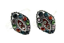 Ethnic Indian Style Handmade Crystal Enemal Toe Rings Pair Real Solid Silver