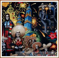 BonEful Fabric FQ Cotton Quilt Mexican L Skeleton Skull City Guitar Music Fiesta