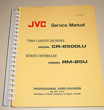 "JVC Service Manual 8112 for 3/4"" Umatic VCR CR-8500LU & Remote Controller RM-85U"
