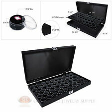 Black Wooden Solid Top Display Case w/ Black 50 Gem Jar Gemstone Insert