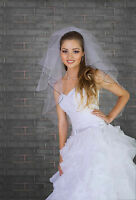 Fingertip Wedding Veil with Crystals and Black Pencil Edge Comb Attached VZ-89