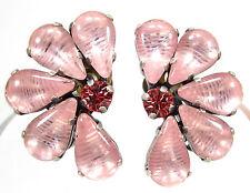 SoHo® Ohrclips mit vintage bohemia Glas handgemachte Glassteine 60er Jahre rosa