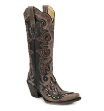 Womens Corral Western Boot Tall Black With Brown Overnlay & Studs Snip Toe G1069