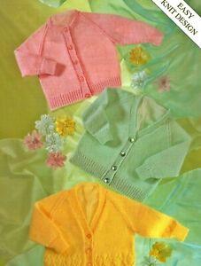 "Premature Baby Easy Knitting Pattern 4 ply Cardigans 12-22"" chest Dolls Reborn"