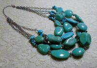 CHUNKY FAUX TURQUOISE LUCITE BEADED MULTI STRAND STATEMENT NECKLACE 19 INCH