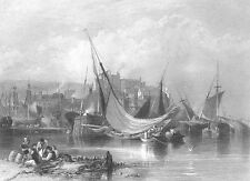 BRIXHAM TORBAY FISHING VILLAGE FRANCIS DRAKE SHIP ~ Old 1840 Art Print Engraving