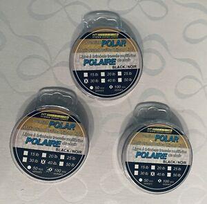 (3 PK) Premium POLAR MULTI-STRAND Braided Tip-up Line 30/40LB,100YDS,BLK