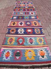 "Vintage Turkish Kilim Runner Rug,Wool Runner 31,8""x123,6"" Long RugCarpet Runner"