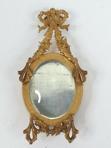 Antique Miniature French Ormolu Oval Picture Photo Frame Bows Wreaths Hanging