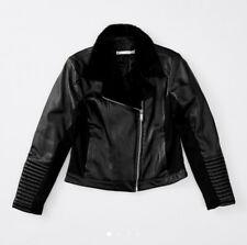Girls size 14  Black FAUX LEATHER fur trim jacket  Target NEW RRP$35
