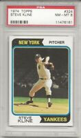 SET BREAK - 1974 TOPPS #324 STEVE KLINE, PSA 8 NM-MT, NEW YORK YANKEES, L@@K !