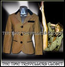 Kate Moss Topshop Black Yellow Stripe Bumble Bee Blazer Stretch Jacket UK 10 12
