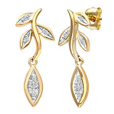 Naava 9ct Yellow Gold Leaves Drop Diamond Earrings - (PE02578Y)