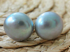 REAL 925 sterling silver  FRESHWATER PEARL 11mm -12mm GREY studs Earring - WOMEN