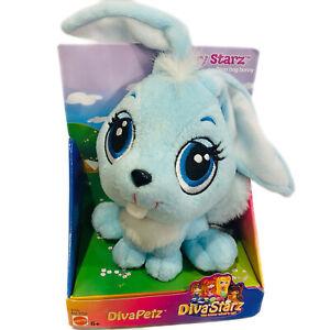 Vintage NOS Mattel Diva Starz FLUFFY Starz Bean Bag Bunny Rabbit Blue Plush 2001