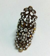 Hot New Fashion Punk Full Rhinestone Hollow Out Flower Finger Ring Size 8 Bronze