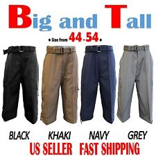 Men Big and Tall PREMIUM Cargo Shorts With Belt Cotton 4 Colors Size 44 ~ 54